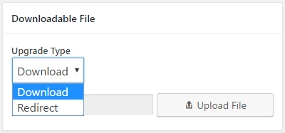 Form for uploading a content upgrade file
