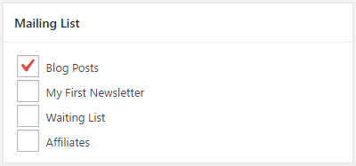 Select which mailing list to add new subscribers to