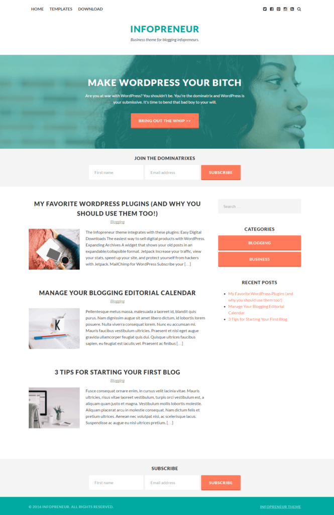 Infopreneur theme for WordPress