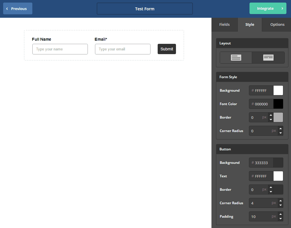 Form builder interface in ActiveCampaign