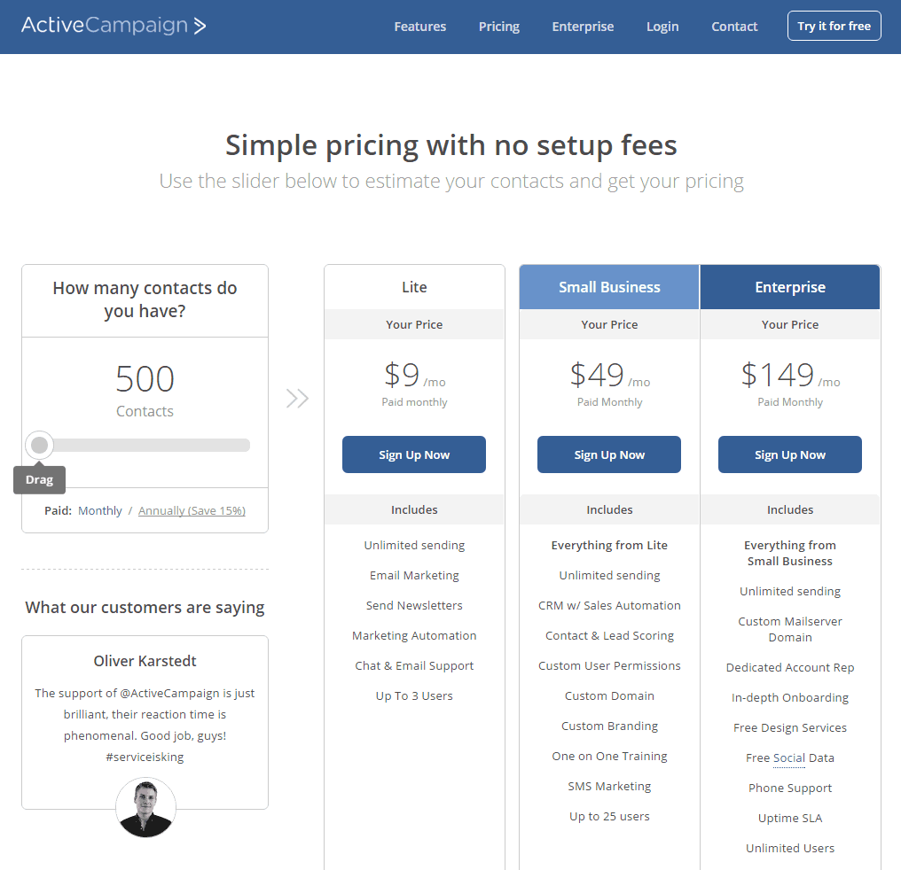 ActiveCampaign pricing table for up to 500 contacts