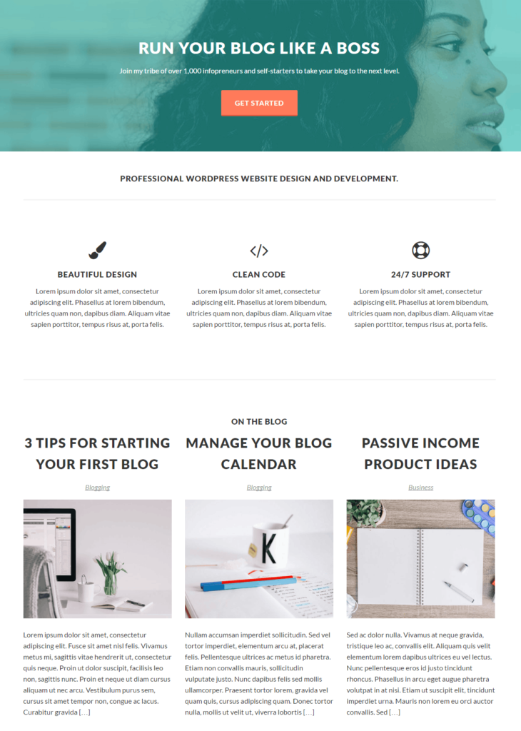 Static homepage template