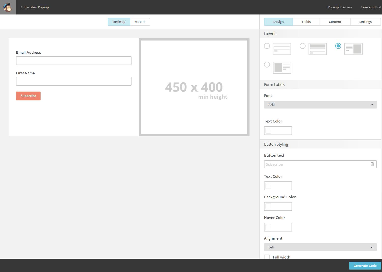 Background image mailchimp - Mailchimp Pop Up Form Builder