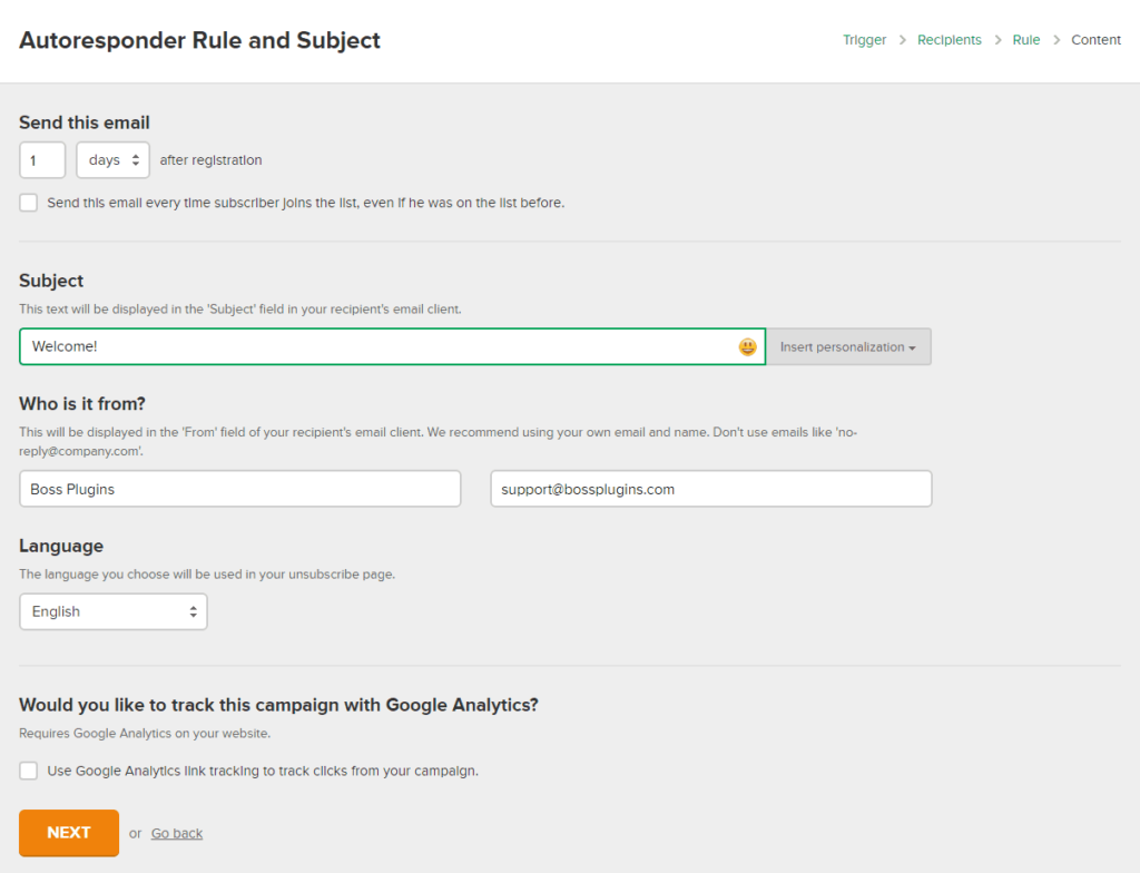 MailerLite: set the autoresponder rule and subject