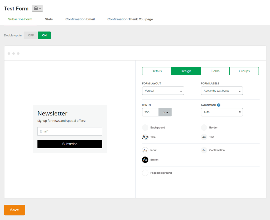 MailerLite form builder