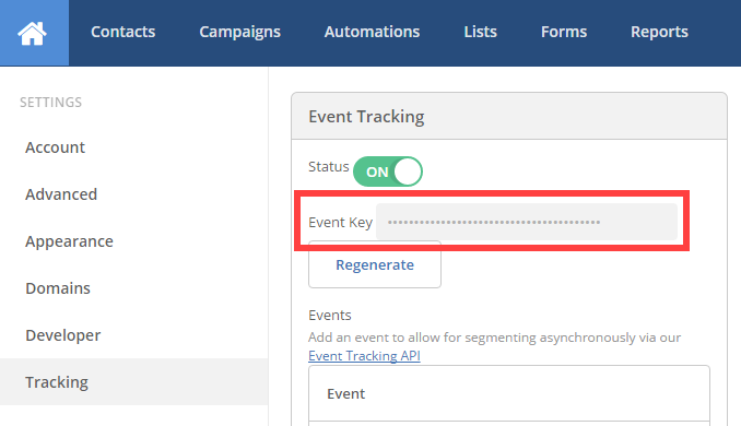 ActiveCampaign event key page