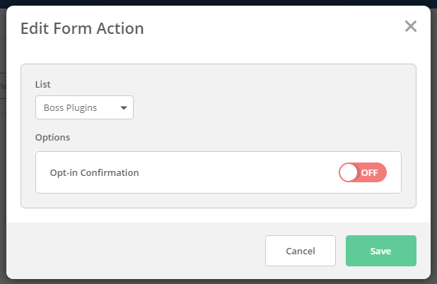 ActiveCampaign form action settings