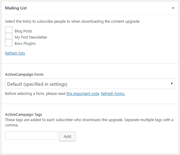 Choose a mailing list to add subscribers to