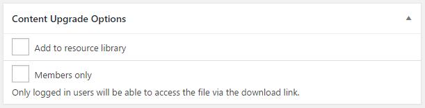 Content upgrade options