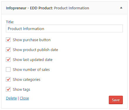 EDD Product information widget