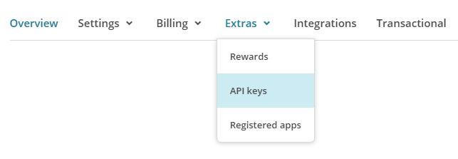 """Link to the """"API keys"""" page"""