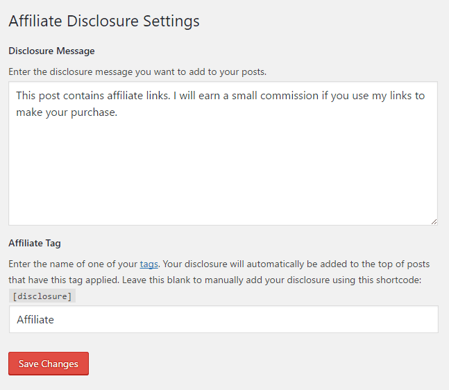 Settings for the affiliate disclosure plugin